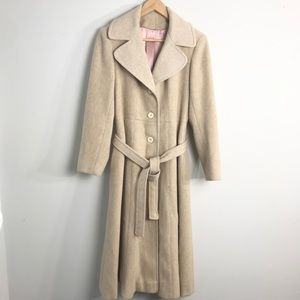 Vintage 100% Virgin Wool Cream A-Line Over Coat